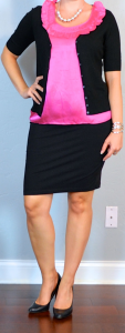 outfit post maternity: pink ruffle blouse, black cardigan, black stretch skirt, black pumps