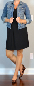 outfit post: black dress, jean jacket, leopard wedges