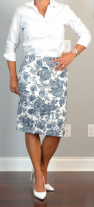 outfit post: floral pencil skirt, white button down shirt, white pumps