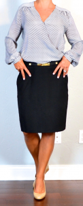 outfit post: stripe crossover blouse, black pencil skirt, nude wedges