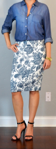 outfit post: chambray button down shirt, blue floral pencil skirt, black heeled sandals