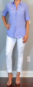 outfit post: blue striped oxford shirt, white distressed skinny jeans, silver high heeled sandals