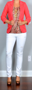 outfit post: white distressed jeans, pink pattern shell, coral blazer