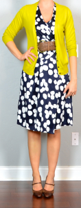 outfit post: navy polka-dot wrap dress, mustard cardigan, brown mary janes