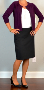 outfit post: burgundy cardigan, white cami, black pencil skirt, black wedges