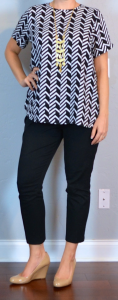 outfit post maternity: geo print top, black cropped pants, nude wedges