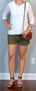 outfit post: white lace shirt, green khaki shorts, brown wedge sandals