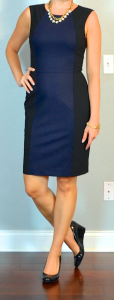 outfit post: navy colorblock sheath, black patent wedges