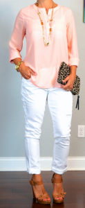 outfit post: peach/coral crepe blouse, white distressed jeans, brown t-strap sandals
