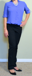 guest post – v: blue tile portofino shirt, black dress pants, black kitten heel pumps