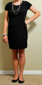 guest post – v: black t-shirt dress, black buckle flats