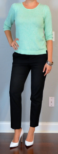 outfit post: mint sweater, black ankle pants, white pump