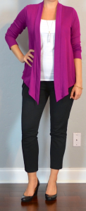 outfit posts maternity: pink drapey cardigan, white maternity tank, black cropped maternity pants, black wedges