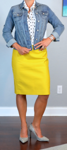 outfit post: polka dot blouse, jean jacket, mustard pencil skirt, grey suede heels