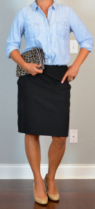 outfit post: light chambray shirt, black pencil skirt, leopard clutch