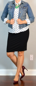 outfit post maternity: polka dot blouse, jean jacket, black jersey pencil skirt