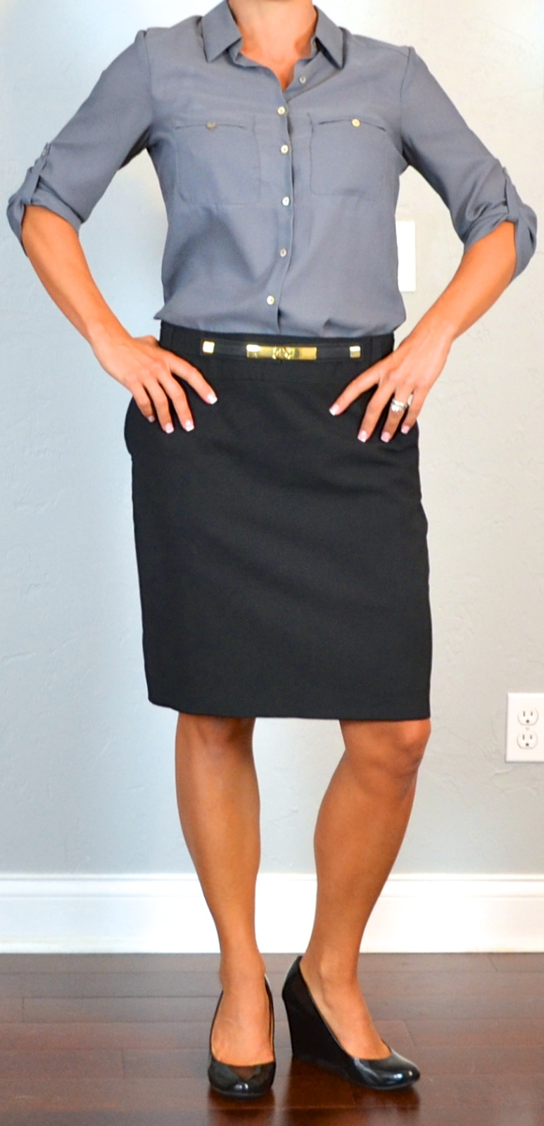 Outfit post grey camp shirt black pencil skirt black patent wedges