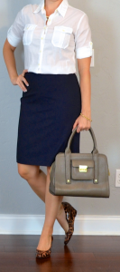 outfit post: white camp shirt, navy pencil skirt, leopard wedges