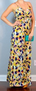 outfit post: printed maxi, teal clutch