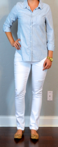 outfit post: chambray shirt, white jeans, cutout flats