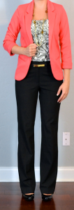 outfit post: coral blazer, print blouse, black pants