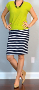 outfit post: citron green sweater, striped jersey pencil skirt, nude wedges