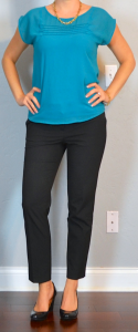 outfit post: teal crepe blouse, black ankle pants, black pumps