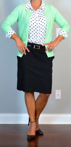 outfit post: polka-dot blouse, mint cardigan, black pencil skirt, black pointed toe pumps