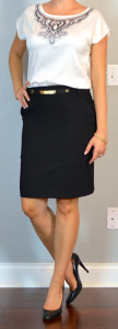 outfit post: embroidred flutter sleeve blouse, black pencil skirt, black pumps