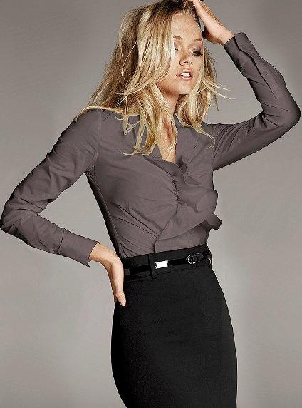Outfit Post Grey Camp Shirt Black Pencil Skirt Black