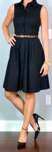 outfit post: black shirt dress, pointed toe black pumps