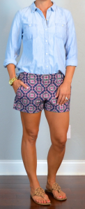 outfit post: paisley shorts, light chambray shirt, medallion sandals