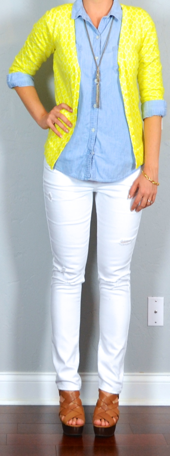 Outfit posts yellow cardigan chambray shirt white distressed jeans brown wedges