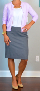 outfit post: purple/lilac cardigan, grey pencil skirt, nude wedges