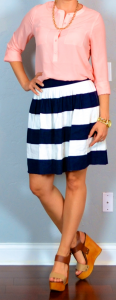 outfit post: coral/peach crepe blouse, striped skirt, wedges