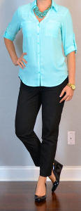 outfit post: teal blouse, black cropped pants, black wedges