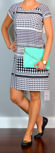 outfit post: black & white patterned crepe shift dress, black flats, teal clutch