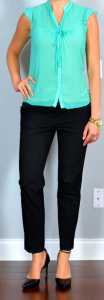 outfit post: mint dot tie-neck blouse, black ankle pant, pointed toe pump