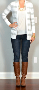 outfit post: grey striped sweater, skinny jeans, riding boots
