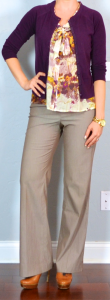 outfit post: floral print tie-neck blouse, burgundy cardigan, tan work pants