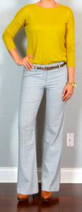 outfit post: mustard sweater, grey 'editor' pants, leopard skinny belt, brown loafer heels