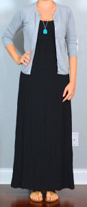 thailand outfit post: black maxi dress, grey cardian, brown sandals