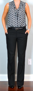 outfit post: navy tie-neck bouse, black dress pants, black patent wedges