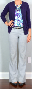 outfit post: purple floral camisole, purple cardigan, grey editor pants, black wedges