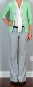 outfit post: mint cardigan, white tie neck blouse, grey editor pants, black wedges