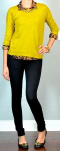 guest outfit post – sister week: mustard sweater, leopard print blouse, black skinny jeans, black flats