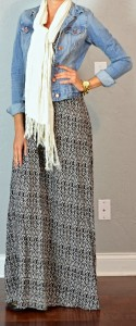 guest outfit post – sister week: ikat maxi dress, jean jacket, cream scarf