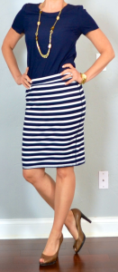 outfit post: navy blouse, striped jersey pencil skirt, brown peep toed pumps