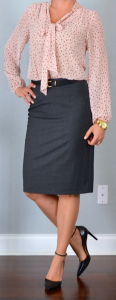 outfit post: pink tie front blouse, grey pencil skirt, black pointed toe heels