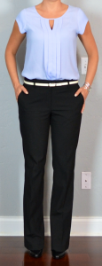 outfit post: lilac pleated keyhole blouse, black suit pants, white belt, black pumps